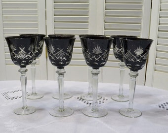 Vintage Wine Glass Black Cut to Clear Set of 8 Crystal Goblets Panchosporch
