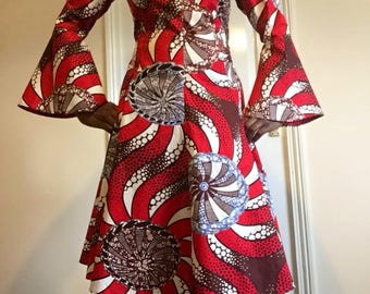 A Flare-up Sleeves of African Print Dress in Vibrant Colours , for Contemporary styles and look