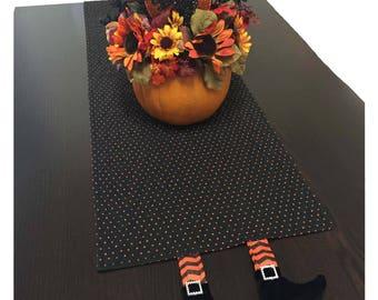 Halloween Table Runner, Halloween Table Decorations, Halloween Quilted Table Runner, Black Table Runner with Orange Polk-Dots and Legs