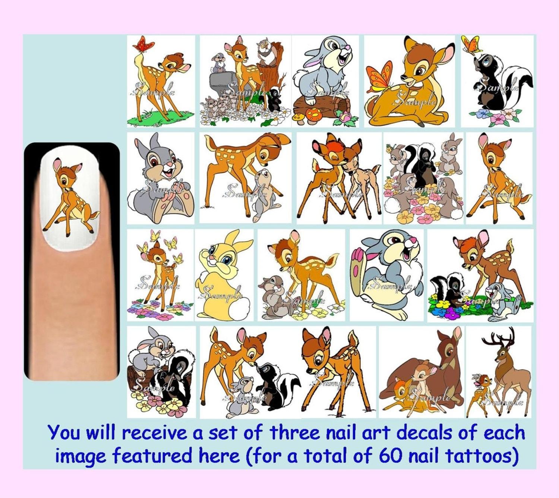 60 X BAMBI-Nail-Art Decals kostenlose Strass Disney Klopfer