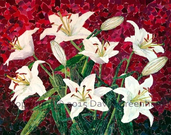 Lilies - Limited Edition signed Fine Art Giclée Print. floral print from original collage.