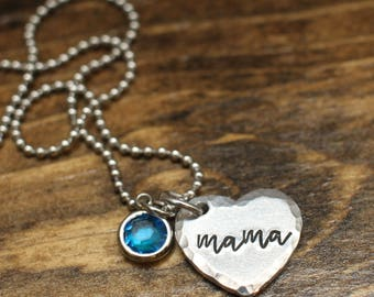 Mother's Necklace, Mother's Jewelry, Valentine's Day Gift, Hand stamped mother's gift, Birthstone Jewelry, Gift for Mom
