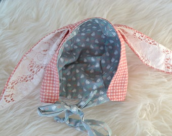Little Holland Lop Bunny Bonnet, easter, baby boy, baby girl, vintage lace, vintage fabric,