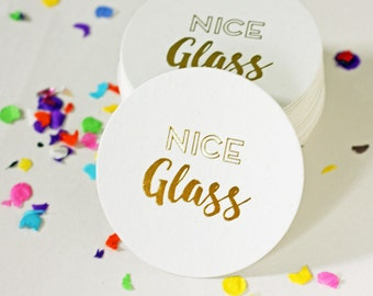 Foil Coasters - Gold Foil Stamped - Nice Glass - cocktail party - holiday party - bar cart - set of 10 - boxed
