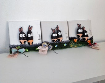 Donkeys Pebble mixed medium art - Exclusive artwork - 479