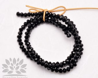 CB100-BL// 4mm Faceted Crystal Rondelle Bead, 1 strand