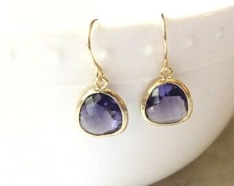 Purple bridesmaid earrings Purple bridal earrings Purple dangle earrings Purple earrings Purple earrings for wedding Purple wedding earrings