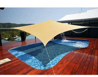 Custom Sized Rectangular and Square Sun Shade Sail with Stainless Steel hardware kit - Sand