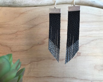 Black and silver fringe leather earrings