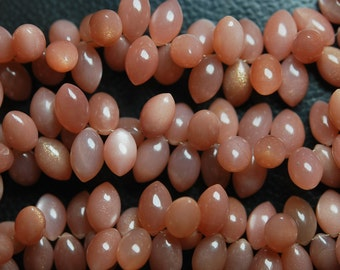 20 Pieces, Finest Quality,Peach Moonstone Smooth Dew Drops Shape Briolettes, 13mm Calibrated size