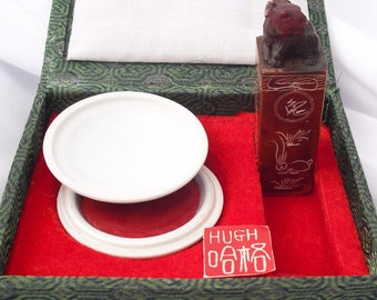 """Chinese Soapstone Chop with Red Ink Paste Set Carved with the Name """"Hugh"""""""