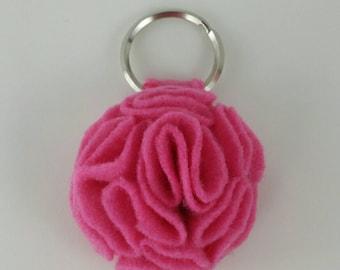 Candy Pink Ruffled Felt Flower Keychain Key Chain Gift Handmade Gift Felt Flower Keyring Under 10 dollars Sweet 16 Flower Floral Key Ring