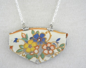 Floral Vintage Broken China Necklace Pendant  Free shipping,  Handmade by Bumbleberry Jewelry