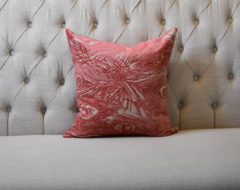 Peach Feather Pillow