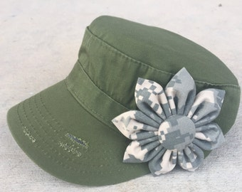 US Army ACU Digital Camo Fabric Flower Daisy Distressed Military Cadet Style Hat