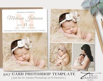 Birth Announcement Template, Birth Announcement Card,   Photoshop Template, sku ba18-4