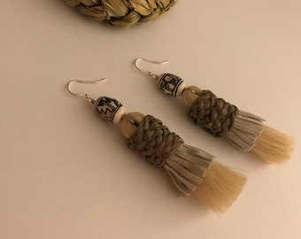 Tassel earrings, horse hair, raffia, suede fringe and vintage ceramic beads.