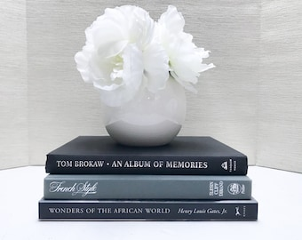 Coffee Table Books, Black and Gray Large Book Set, Coffee Table Decor, Shelf Decor