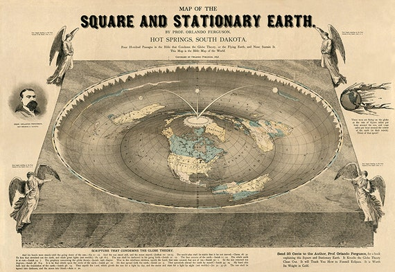 World map of square stationary flat earth 1893 antique gumiabroncs Choice Image