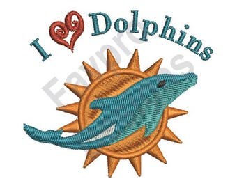I Love Dolphins - Machine Embroidery Design