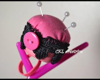 Pink and black Pincushion ring