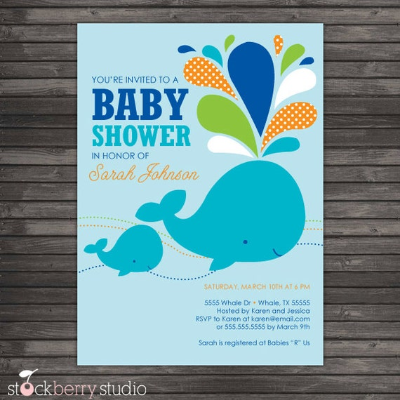 Whale Baby Shower Invitation Printable Boy Baby Shower