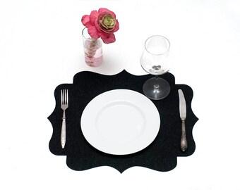 Elegant Table Mat / Set Felt Placemats / Black Placemats