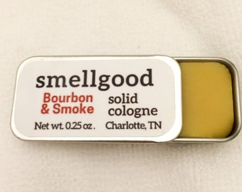 Smellgood Solid Cologne and Perfume - Beeswax, Jojoba Oil, and Fragrance Oils in a Portable Sliding Tin - Handmade with Natural Beeswax