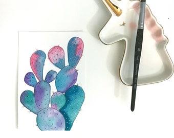 Sunrise over Cactus - original watercolor/ink painting