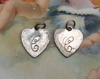 Vintage Letter C Pair Silver Metal Heart Charms Supply Salvage