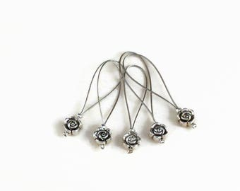 Rose charm wire loop stitch markers - closed stitch markers for knitting or crochet