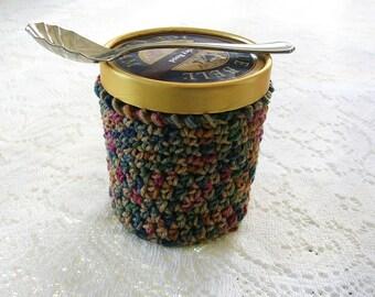 Crème glacée Cozy - main Crochet crème glacée titulaire - Mult couleur brun pinte crème glacée Sleeve - pinte taille confortable couverture - Cottage Decor