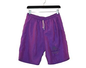 1980s vintage swimwear 80s retro swim short purple - vintage clothing