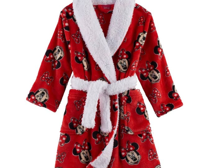 Disney's Minnie Mouse Toddler Girl Fleece Red Robe - Personalized Monogrammed