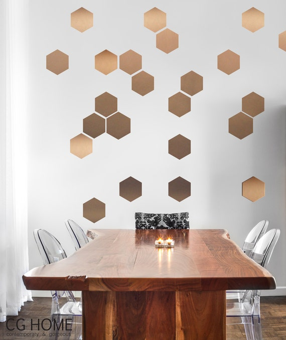 copper HEXAGON decoration GOLD geometric honeycomb WALL decal vinyl at home sticker