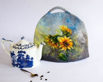 Felted Tea Cosy, blue teapot cozy,  teapot warmer, green teapot cover, wool felted coffee pot cosy orange sunflowers exclusive gift under 60