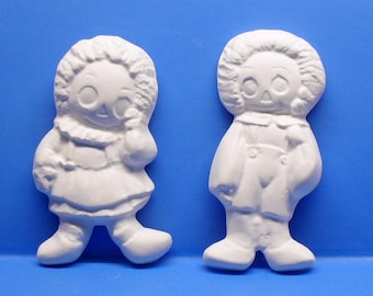 Ready To Paint/DIY/Plaster/ChalkWare/PlasterCraft Wall Décor/Wall Hanging/Wall Plaque Raggedy Ann N Andy Two Piece Set #212