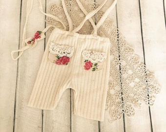 Cod 565Newborn Ivory Stretch cotton Leggings, baby pants, flower print poket, newborn clothing, baby girl, photography prop, ivory