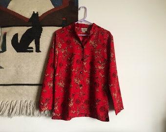 Red White and Black Kimono Top