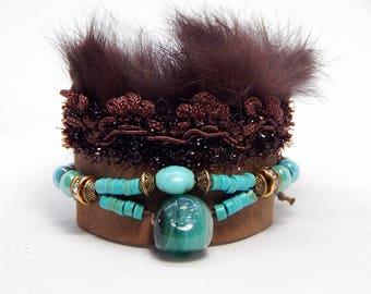 Fur and leather Cuff Bracelet