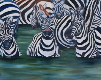 Fine Art Print - Zebras -  Original Art by Rebecca Croft - Many Sizes