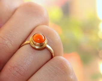 Orange Ring * Orange Jewelry * Stone Ring * Stackable Rings * Rings for Her * Rings for Women * Simple Ring * Small Rings * Little Rings