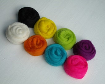 "Set of 8 colors ""Flashy"" wool felting or spinning Merino 80g"