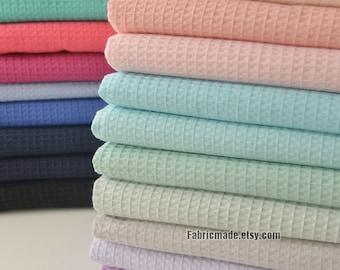 WAFFLE Cotton Fabric, Waffle Weave Fabric, Waffle Check Fabric 11 colors available-  1/2 yard