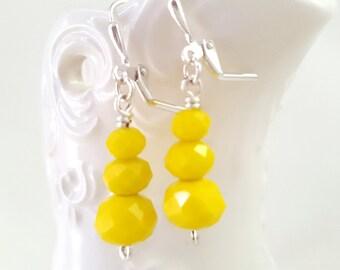 Bright Yellow Earrings - Faceted Glass Earrings - Summertime Earrings - Retro Dangle Earrings - Yellow Drop Earrings - Stack Earrings