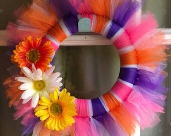 Colorful Daisy Tutu Wreath