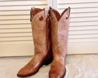 Vintage Brown Cognac Leather Cowboy Boots Women's Sz 8  Offered by Eclectic Gatherings
