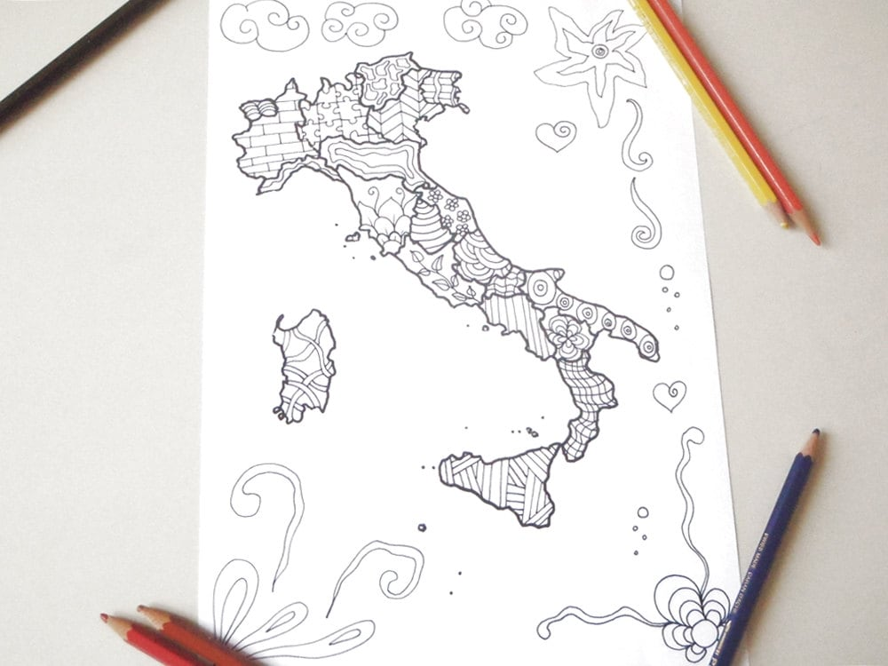 Italy Map Italian Adult Coloring Page Kids Travel Download