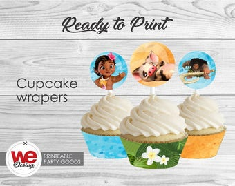 Moana Cupcake Wrappers, Printable Cupcake Wrap, Moana Birthday decoration, instant download, DIY