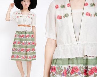 1960s Vintage Dress / Vintage Floral Dress / Green Beige Vintage Dress / Long Dkirt Dress / Retro / S